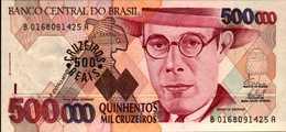 BRESIL 500 CRUZEIROS REAIS SUR 500000 CRUZEIROS De 1993nd  Pick 239b UNC/NEUF - Brésil