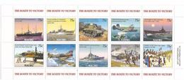 2005 Nauru End Of World War II Spitfire Ships Airplanes Tanks Complete Set Of 2 Sheets MNH - Nauru