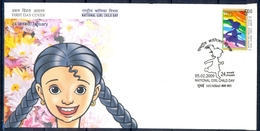 J343- India 2009. National Girl Child Day. Running. Children. Flowers. - India