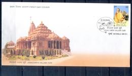 J345- India 2009. Jainacharya Vallabh Suri. Jain Acharya. Jainism. Temple. Architecture. Book. Glass For Eye. Health. - India