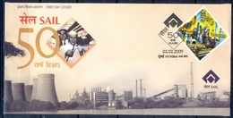 J346- India 2009. 50th Anniversary Of Steel Authority Of India Limited. SAIL. Mineral. - Covers & Documents