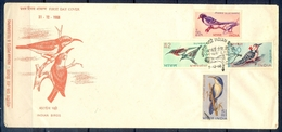 J347- India 1968. Bird. Rhino. Blue Magpie. Babbler. Sunbird. Woodpecker. - Covers & Documents