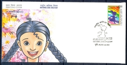 J350- India 2009. National Girl Child Day. Running. Children. Flowers. - Covers & Documents