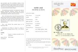 J369- Brochure Of India 2009 Rev. J.J.M.Nichols Roy Famous People Politicion - India