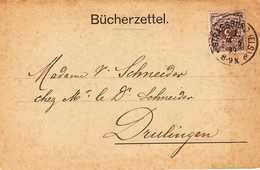 Bücherzettel Affr Michel 45 Obl STRASSBURG (ELS) 1. E Du 14.6.93 Adressé à Drulingen - Elzas-Lotharingen