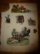 Année 1889 :Page De  6 Chromos-découpis (Tauromachie, Accident De Voiture à Chien à Cause D'un Lapin, Canons,Nègre,etc ) - Victorian Die-cuts