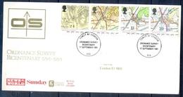 J381- Great Britain U.K UK England 1991. FDC. Map. Ordnance Survey Bicentenary 1791-1991. - Other