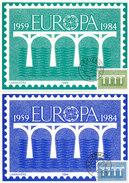 D30207 - 2 CARTES MAXIMUM CARDS FD 1984 NETHERLANDS - EUROPA CEPT BRIDGE CP ORIGINAL - Europa-CEPT