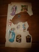 Année 1889 :Page De 6 Chromos-découpis (2 Anges-filles,Chat Personnifié Tenant Une Poupée,Enfants Dans Un Paniers,etc) - Victorian Die-cuts
