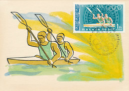 D30232 CARTE MAXIMUM CARD TRIPLE 1968 HUNGARY - KANOE OLYMPICS MEXICO CP ORIGINAL - Canoe