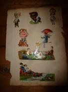 Année 1889 :Page De 6 Chromos-découpis(Négrillonne,Animaux-personne,2 Enfants En Voiture à Chien Poursuivant Lapin,etc) - Victorian Die-cuts