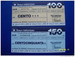 MINIASSEGNI SERIE CASSA BANCO AMBROSIANO  FDS   29/6/1977 ( 2 VALORI ) - [10] Assegni E Miniassegni