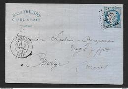 Yonne -  G.C.  828  Et Cachet Type 17  CHABLIS - Marcophilie (Lettres)