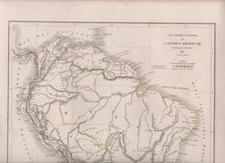 CARTE PHYSIQUE ET POLITIQUE DE L'AMERIQUE MERIDIONALE DRESSEE PAR L. DUSSIEUX EN 1845 - MONTAGNES - Mapas