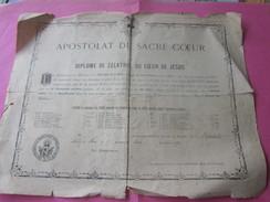 1890 Riec-sur-Bélon APOSTOLAT Du Sacré Cœur De Jésus Diplôme De ZÉLATRICE(Léon XIII)>Curé Prêtre RELIGION CHRÉTIEN - Documents Historiques