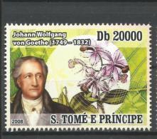 Sao Tome Johann Wolfgang Von Goethe Germany Botany Botanist 1v Stamp Michel 3509 - Non Classificati