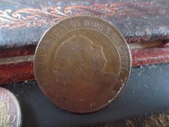 ESPAGNE - 5 CENTIMOS DE ESCUDO - 1868- TTB . -VOIR PHOTOS - [ 1] …-1931 : Royaume