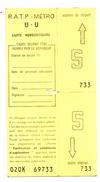 RATP  Carte Hebdomadaire U-U - Abonnements Hebdomadaires & Mensuels