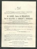 """Faire Part Du Décés De  """"De Laage, Baron De Bellefaye à Saint Omer Le 16 Juin 1936 - Mald5301 - Décès"""