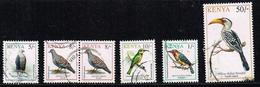 Kenia 1993, Michel# 577, 579, 580, 574, 583 O - Birds