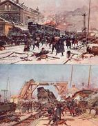 Combat, Bataille Laloué Dans Une Gare X 2 - Guerre 1914-18