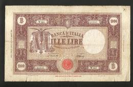 ITALIA - BANCA D' ITALIA - 1000 Lire Grande M ( TESTINA - Decr. 12 / 07 / 1946 - Firme: Einaudi / Urbini) RARO - [ 2] 1946-… : Repubblica