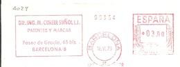 FRANQUEO MECANICO  BARCELONA 1979  6X15 FRAGMENTO-FRONT - Marcofilia - EMA ( Maquina De Huellas A Franquear)
