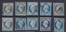 France 1854 - N°14  - Lot De 10 Timbres - 1853-1860 Napoleone III