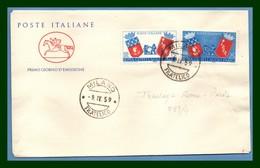ITALIE FDC Jumelage Rome Paris 1959 Yv 783 784 Blason Roma Gemellaggio Parici Primo Giorno - Enveloppes