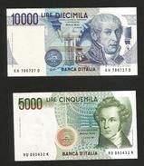ITALIA - BANCA D' ITALIA - 10000 Lire Volta & 5000 Lire Bellini (Firme: Fazio / Amici ) Lotto - [ 2] 1946-… : Repubblica