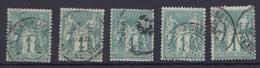 France 1876 - Lot De 5 Timbres N°61(o) - Type I - 1876-1878 Sage (Type I)