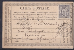 France 1876 - N°77 Carte Postale - Postmark Collection (Covers)