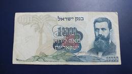 Israel-third Issue-(1968)-100 Lirot Herzl-(black Number Small-0012565107)-very Good Rite In Pen - Israel