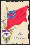 """Peinte Drapeau """"Vive L'Angleterre"""" Pensée - Guerre 1914-18"""