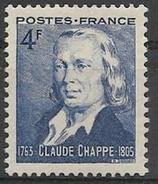 France - YT 619 - Sesquincentenaire Du Télégraphe Optique - Claude Chappe, Ingénieur (1944) NEUF ** SANS CHARNIERE - Neufs