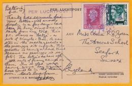 1947 - CP Par Avion De Batavia, Indes Néerlandaises  Vers Seaford, Angleterre, GB - Militaires En Vélo-taxi - Netherlands Indies