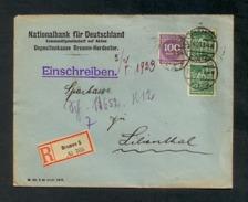 DR 1923, Inflation, R-Brief Von Bremen Nach Lilienthal Am 30.6.1923,  Mi. # 240 (2 X) Und 268 B - Allemagne