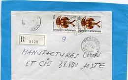 """MARCOPHILIE-GABON-lettre REC>Françe-cad 1985--2-stamps N° 568C  Reliquaire-""""Timbre Non Coté RARE Sur Lettre"""" - Gabon (1960-...)"""