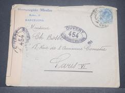 ESPAGNE - Enveloppe De Barcelone Pour Paris Avec Contrôle Postal - L 8473 - 1889-1931 Royaume: Alphonse XIII