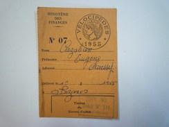 IMPÔTS Sur Les  VELOCIPEDES  Avec  CACHET FISCAL   1955    - Fiscale Zegels