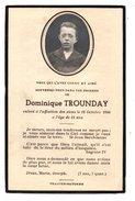 SOUVENEZ-VOUS DE DOMINIQUE TROUNDAY Décédé Le 18 Octobre 1946 à L'âge De 11 Ans - Réf. N°3111 - - Obituary Notices