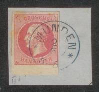 Altdeutschland > Hannover 1859, Briefstück Mi. # 14 A, Dkr.-Stempel MÜNDEN 2.6. Mit Sternen, Blau. - Hanovre