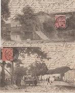 """88 Rouceux 1906-1908 Lot 2 Cpa Place Du Jeu De Quilles-Passerelle Sur Le Ruisseau De L'abreuvoir """"La Lorraine Illustrée - France"""