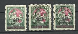 LATVIA Lettland 1920 Michel 55 - 57 */o - Latvia