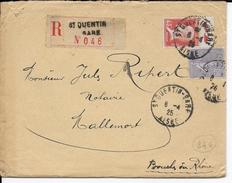 TYPE PASTEUR + SEMEUSE - 1925 - LETTRE RECOMMANDEE De ST QUENTIN GARE (AISNE) => MALLEMORT - Marcophilie (Lettres)