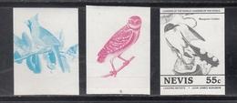 Nevis  Birds  Colour Trials  3v  Imperf   # 95176 - Songbirds & Tree Dwellers