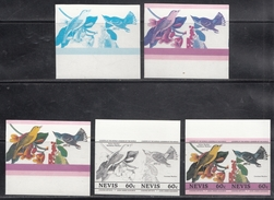 Nevis  Birds  Colour Trials  5v  Imperf  Pairs  # 95172 - Songbirds & Tree Dwellers