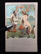 Carte Postale Ancienne Illustration Franc-Maçonnerie Adam Et Eve 1900' - Illustrateurs & Photographes