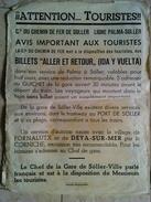 COMPAGNIE DE FER DE SOLLER LIGNE PALMA-SOLLER. ATTENTION AVIS IMPORTANT AUX TOURISTES - SPAIN MALLORCA BALEARIC 1960. - Chemin De Fer