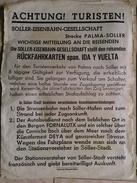 SOLLER-EISENBAHN-GESELLSCHAFT. ACHTUNG! TURISTEN! - SPAIN MALLORCA BALEARIC ISLANDS, 1960 APROX. SMALL POSTER. - Chemin De Fer